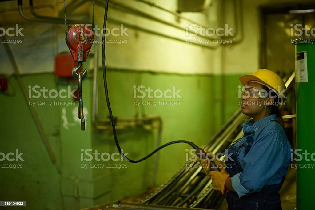 Conveyor operator at work stock photo