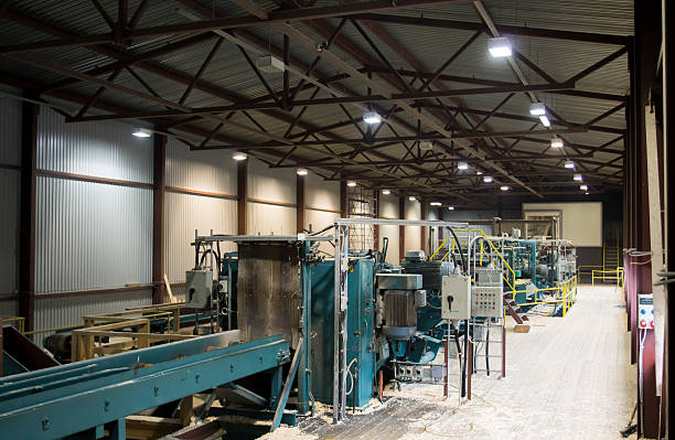 Conveyor System in Sawmill stock photo
