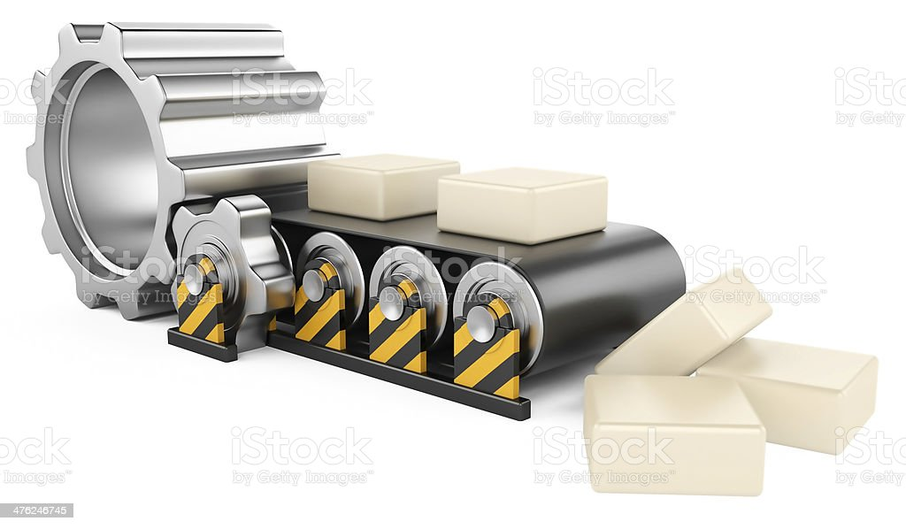 Conveyor with boxes. royalty-free stock photo