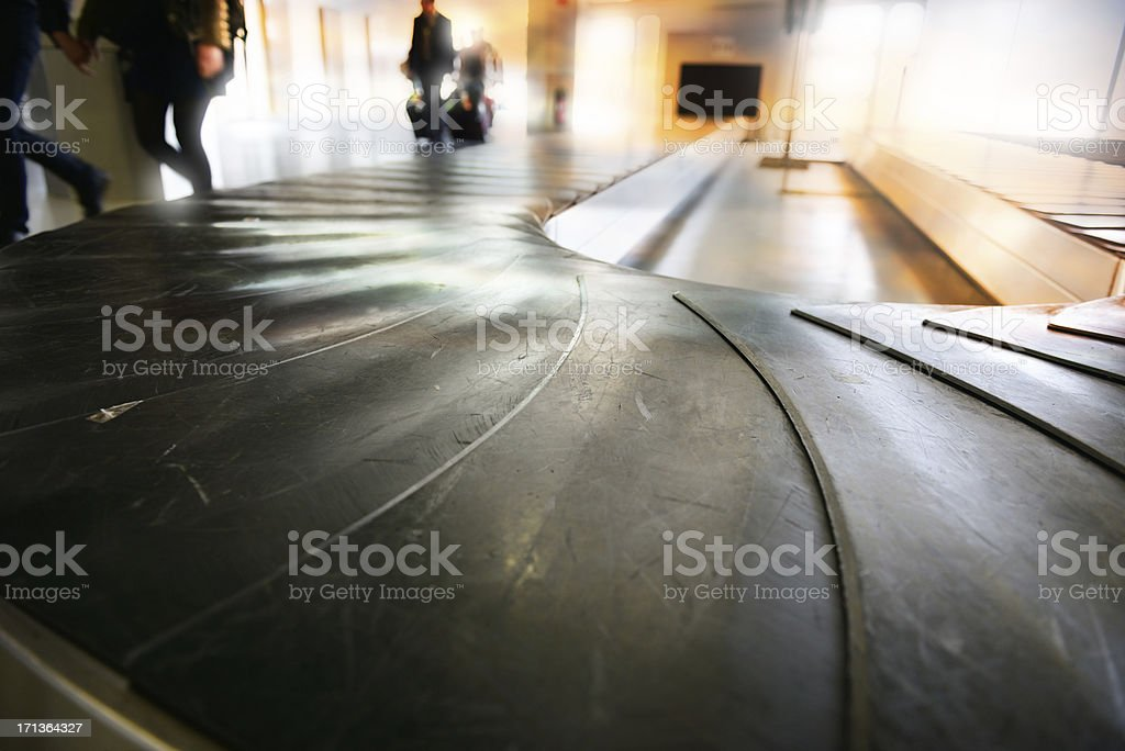 Conveyour belt at airport, early morning stock photo