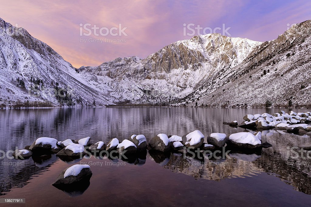 Convict Lake with Mountains and Snow stock photo