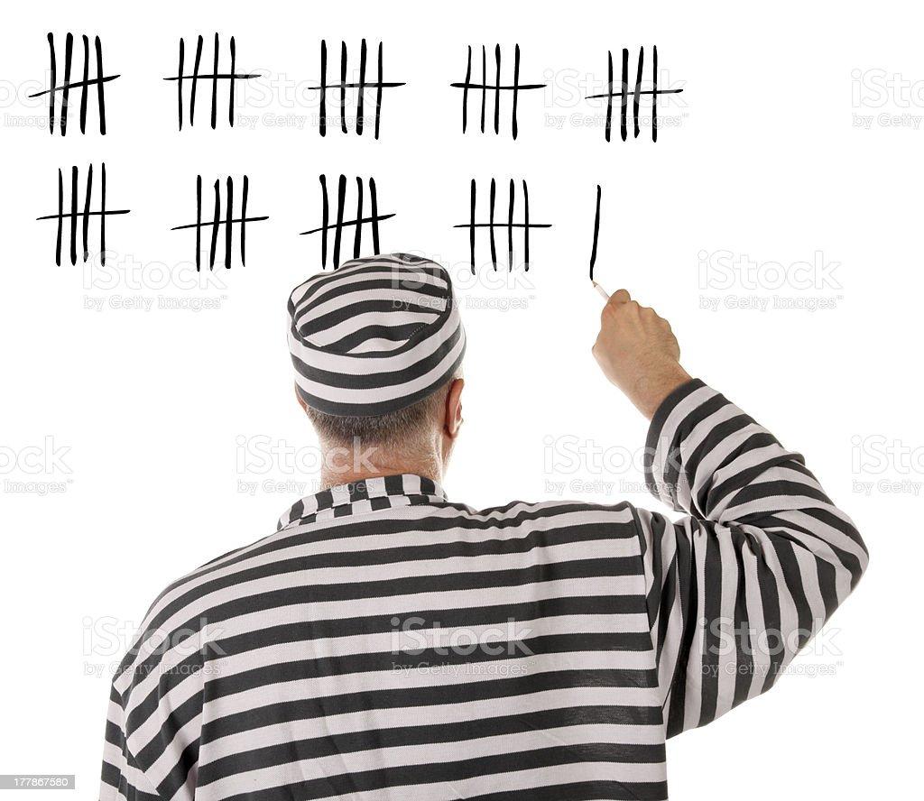 Convict prisoner jailbird is counting days in jail stock photo