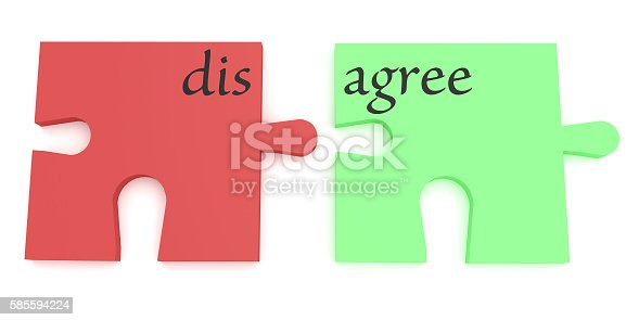 Convincing: Red And Green Agree Or Disagree Puzzle Pieces, 3d illustration