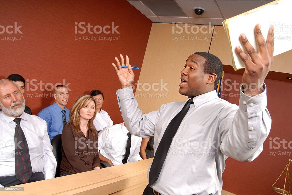 Convincing the jury stock photo