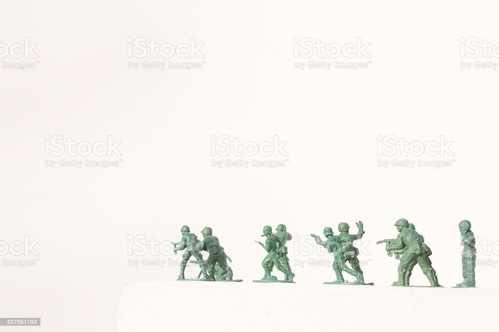 convoy of soldiers isolated on white background stock photo