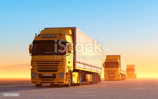 istock Convoy of yellow trucks on the road 153202632