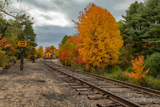 Conway railway station The Conway railway station in autumn conway new hampshire stock pictures, royalty-free photos & images