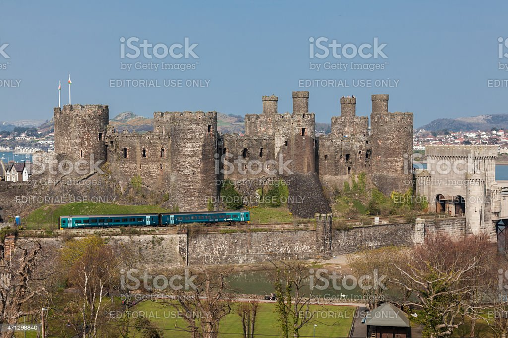 Conwy Castle and a Passenger Train North Wales stock photo