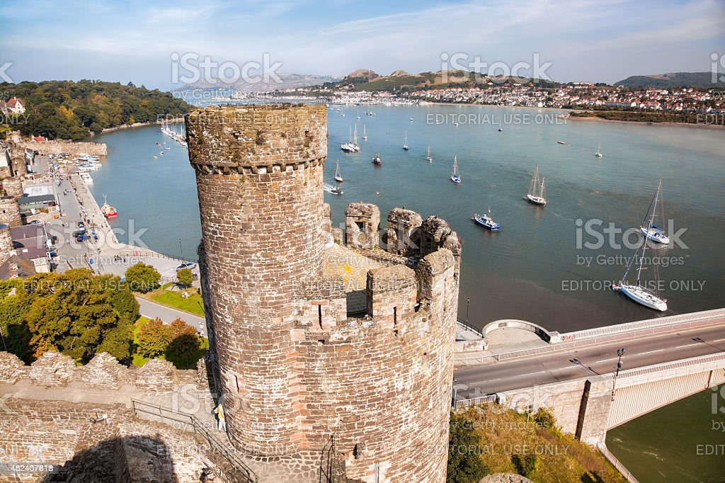 Conwy Castle in Wales, United Kingdom, series of Walesh castles stock photo