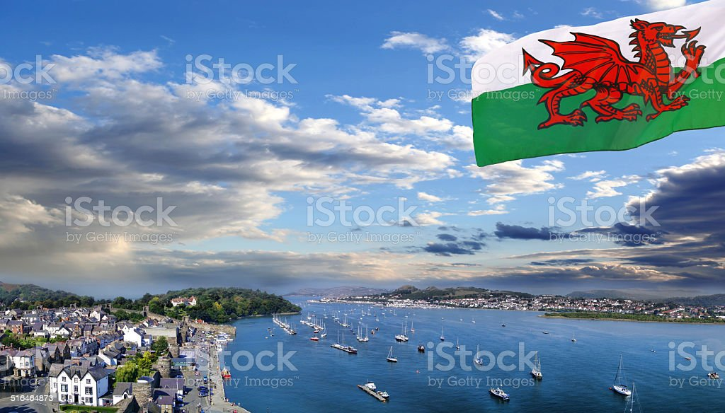 Conwy town with boats in Wales, United Kingdom stock photo