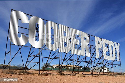 The road sign of Coober Pedy town in South Australia that supplying most of the world's gem-quality opal.