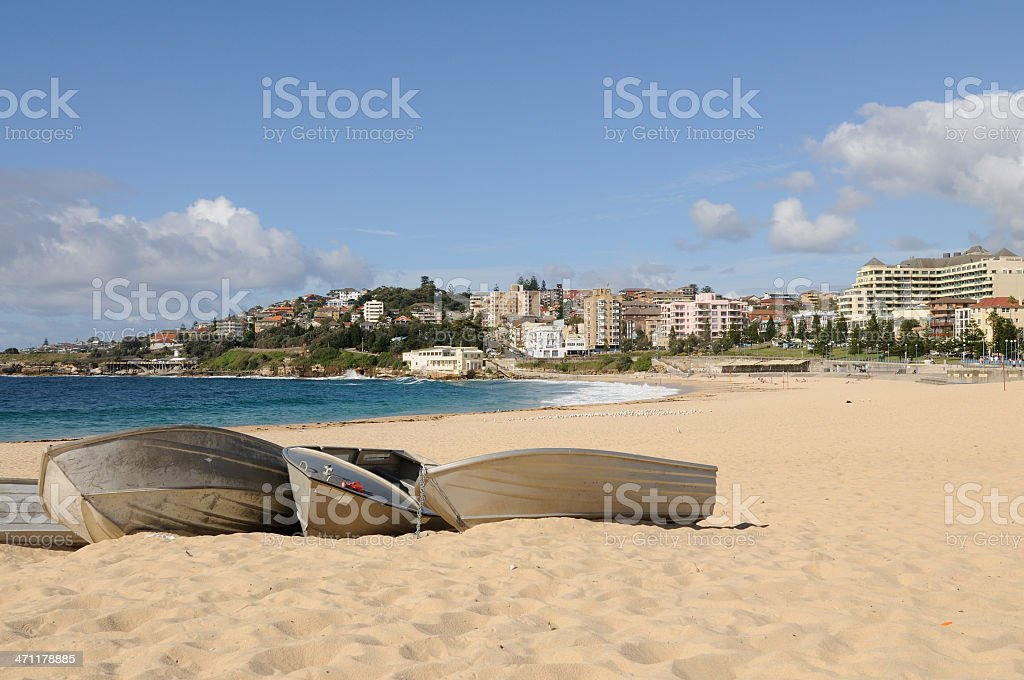 Coogee Beach with Boats royalty-free stock photo