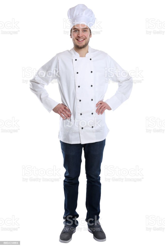 Cook apprentice trainee cooking with job young man standing isolated stock photo