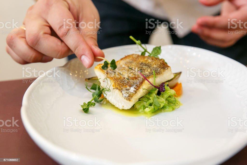 Koch Köche Fischgericht - gebackenes Filet vom Zander, Zander – Foto