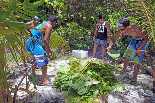 kochen sie inselbewohner männer kochen in erde ofen in rarotonga kochen - kochinsel stock-fotos und bilder