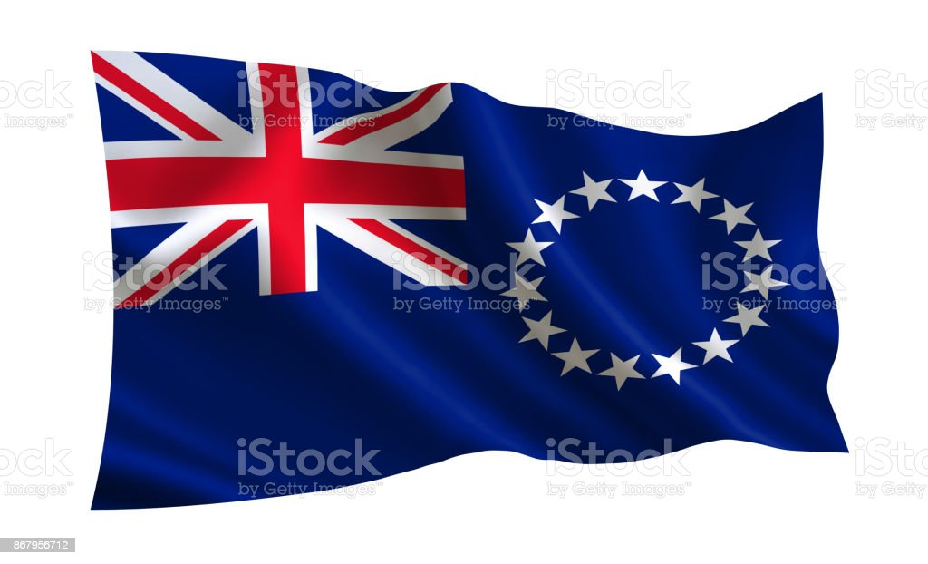 Cook Islands flag. A series of 'Flags of the world.'  ( The country - Cook Islands flag ) stock photo