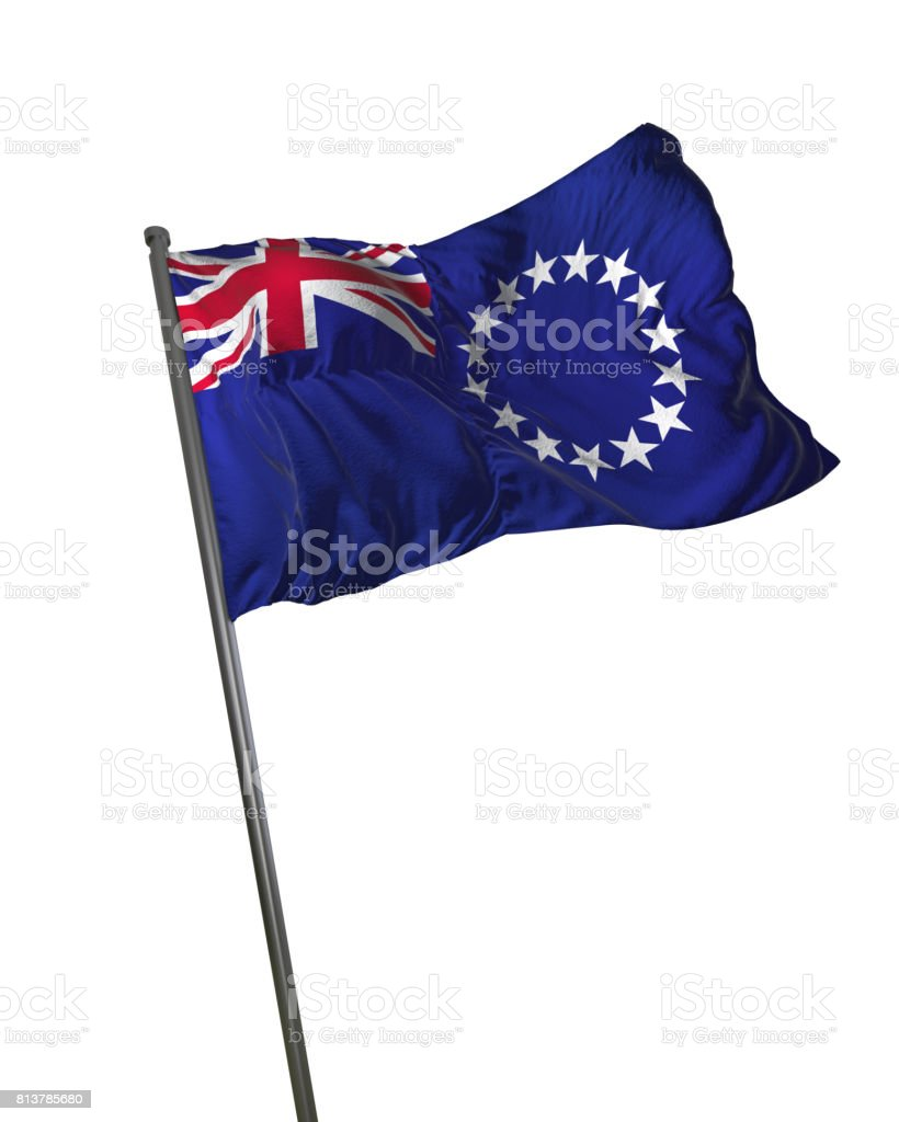 Cook Islands Flag Waving Isolated on White Background Portrait stock photo