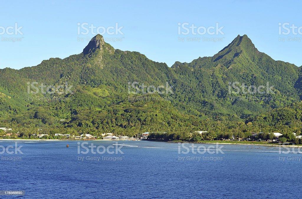 Cook Island's Rarotonga Mountains stock photo