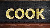 Cook Light Bulb Sign Against Black Brick Wall. 3D Render