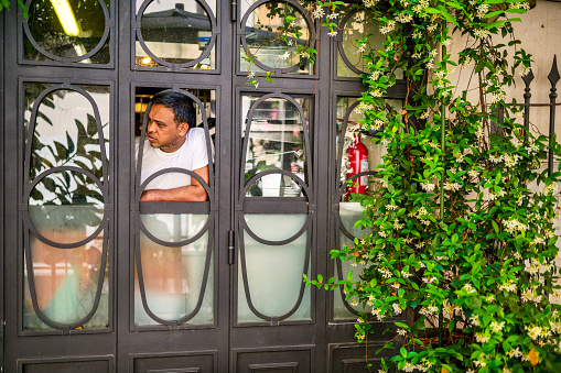 Rome, Italy, June 11 -- A cook looks out from the kitchen of a lovely restaurant with a jasmine plant along an alley in the Rione Monti (Monti district), in the heart of the historic center of Rome. The Monti district is a popular and multi-ethnic quarter much loved by the younger generations and tourists for the presence of trendy pubs, shops and restaurants, where you can find the true soul of the Eternal City. The quarter, located between the Esquiline Hill and the Roman Forum, is also rich in numerous churches and archaeological remains from the Roman era. Image in high definition format.