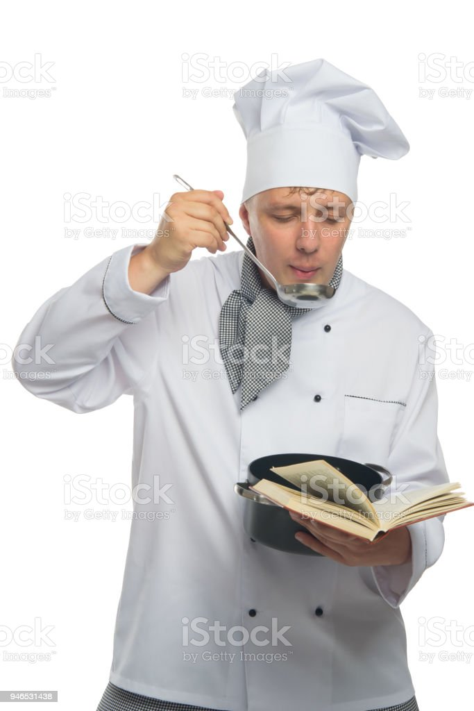 cook, on white background, trying a ready dish stock photo
