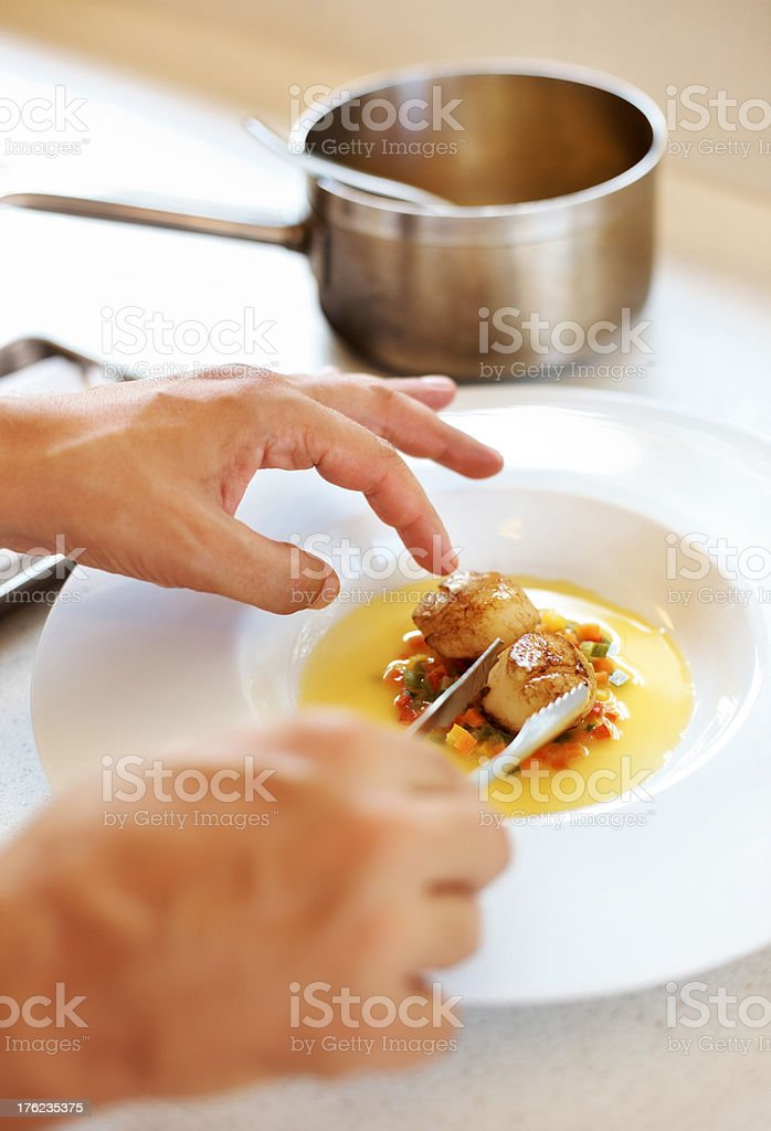 Cook preparing delicious dessert royalty-free stock photo