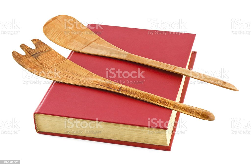 Cookbook and kitchenware royalty-free stock photo