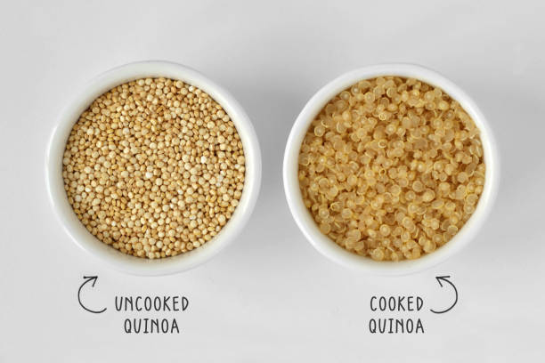 cooked and uncooked quinoa - quinoa stock photos and pictures
