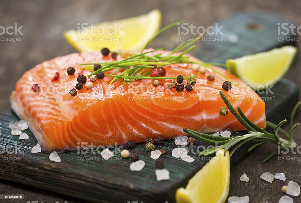 A cooked and well decorated piece of salmon  stock photo