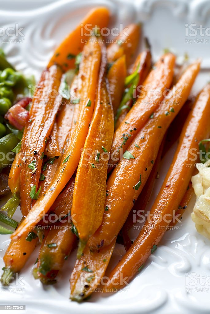 Cooked Baby Carrots royalty-free stock photo