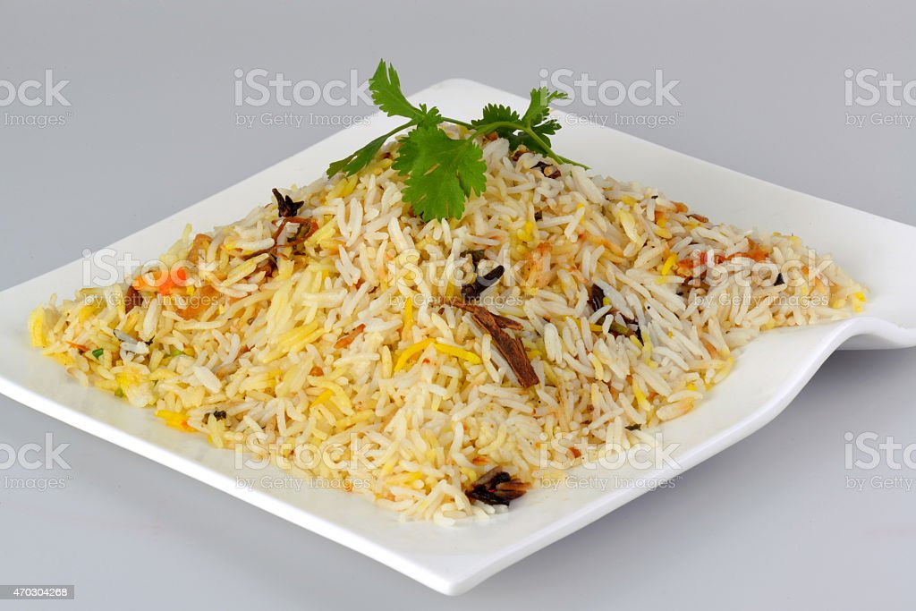 Cooked biryani rice stock photo
