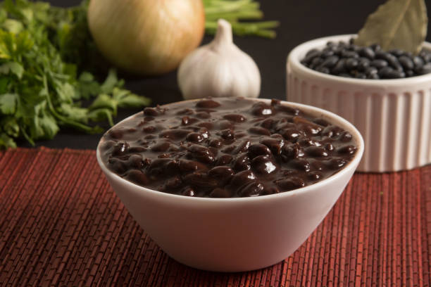 Cooked Black Beans in a bowl stock photo