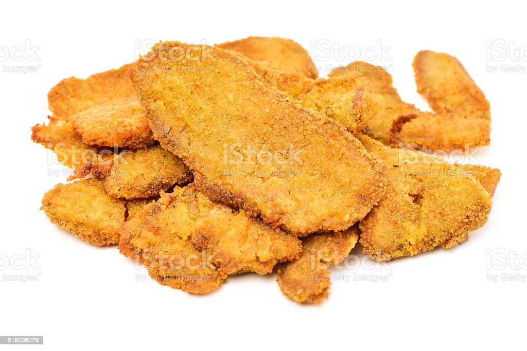 cooked breaded fillets of seitan stock photo