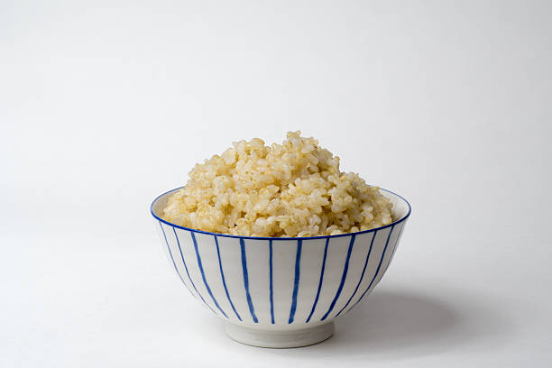 Cooked Brown Rice Bowl stock photo