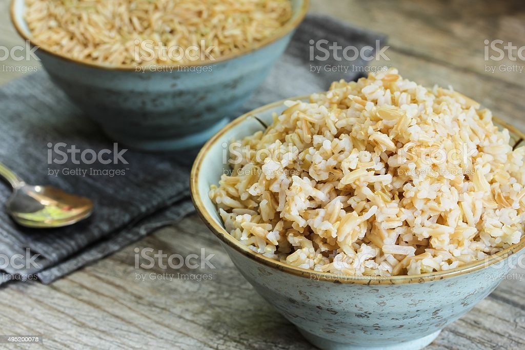 Cooked Brown Rice side view stock photo
