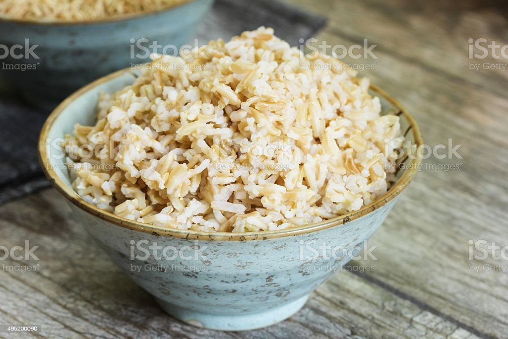 Cooked Brown Rice side view royalty-free stock photo