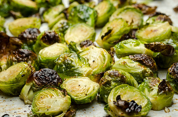 Cooked Brussels Sprouts stock photo