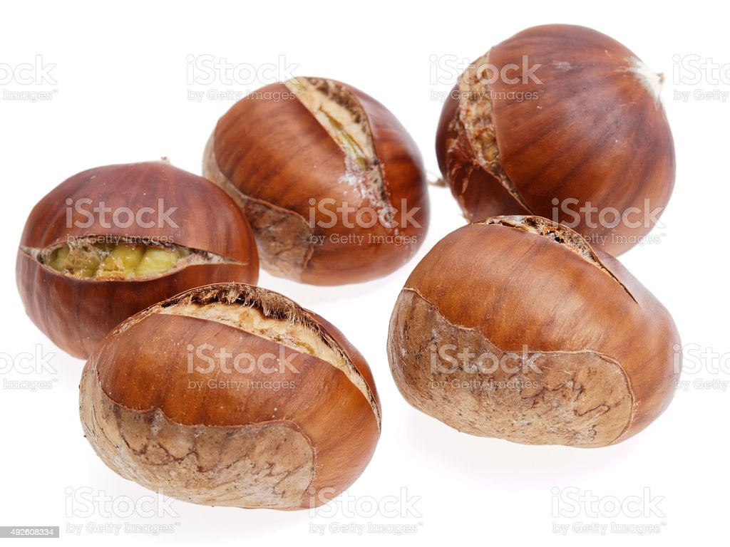 cooked chestnuts stock photo