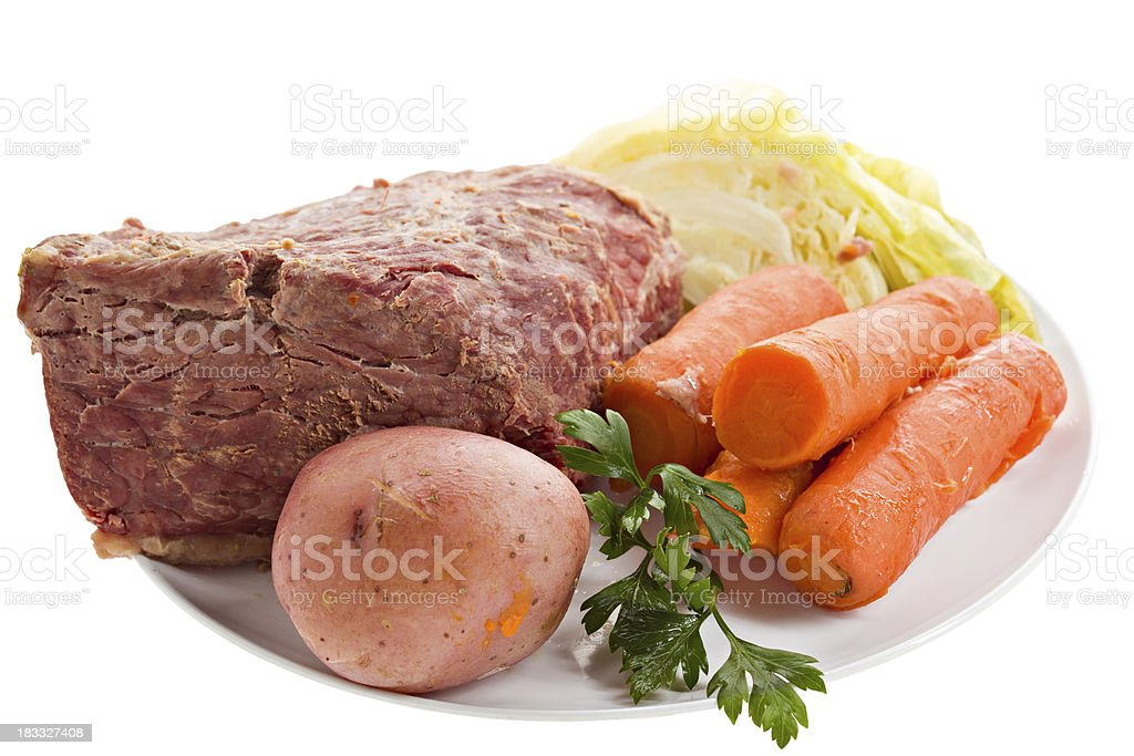 Cooked Corned Beef Dinner Isolated stock photo