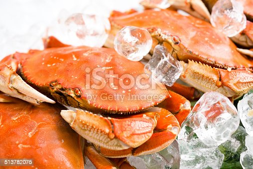 Cooked crab on ice.
