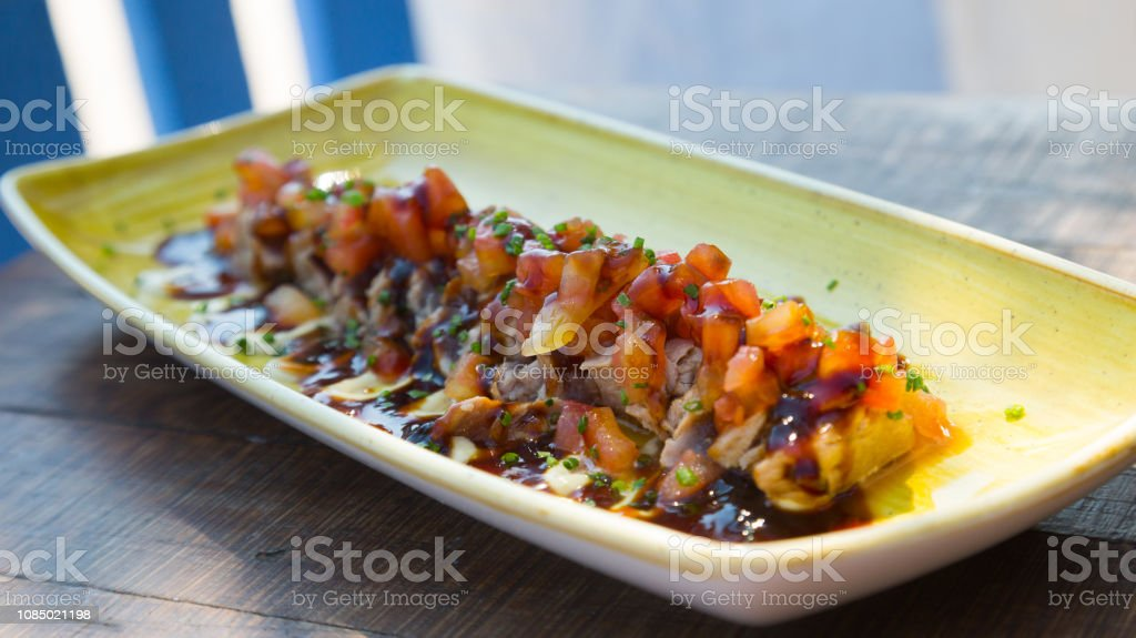 cooked freshness food tataki de atun stock photo