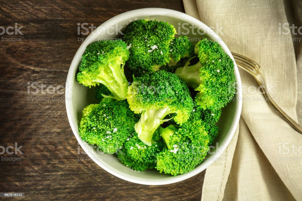Cooked green broccoli with sea salt and copyspace stok fotoğrafı