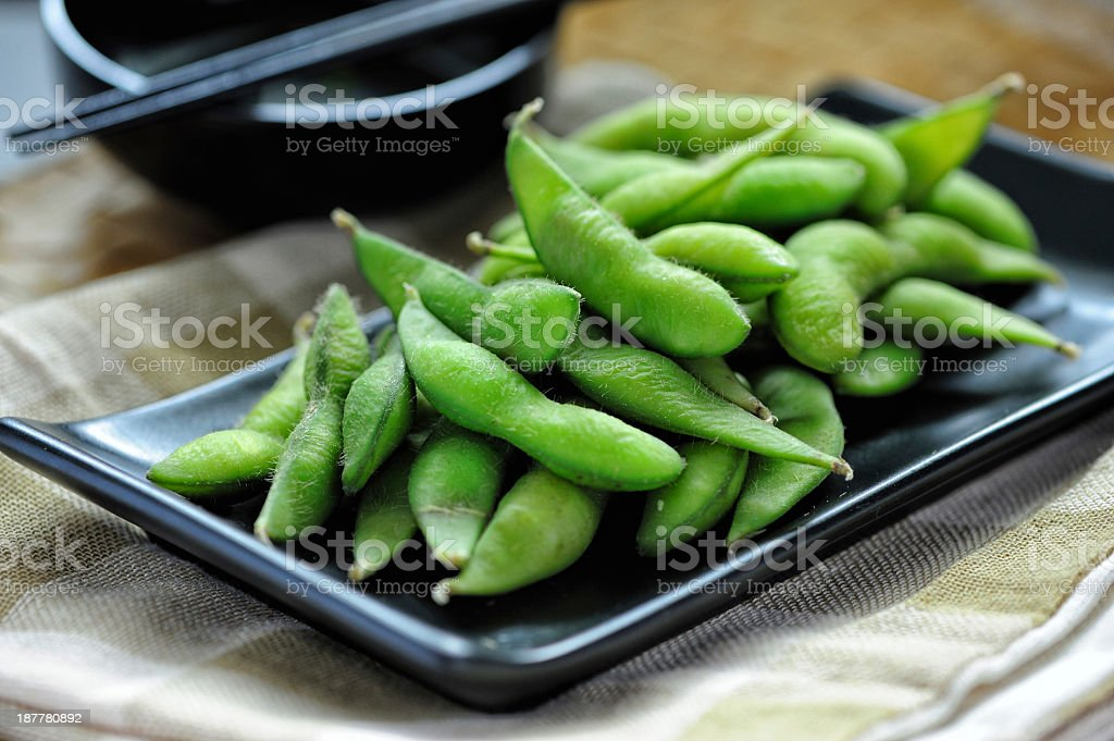 Cooked Green Organic Edamame stock photo