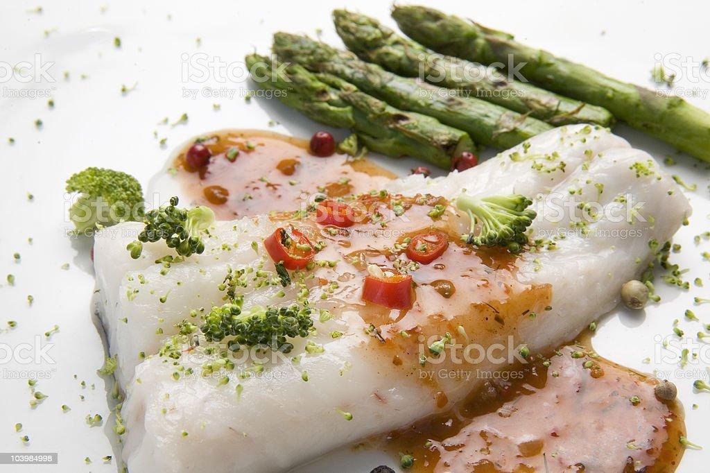 cooked hake dinner stock photo