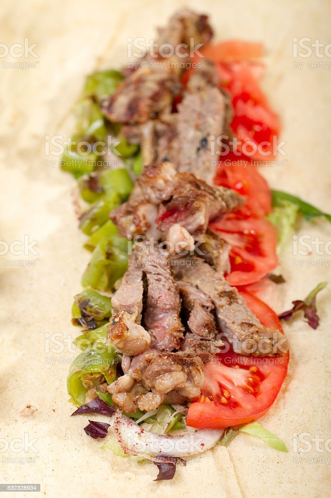 cooked indian chicken lamb shish kofte kofta kebab naan stock photo