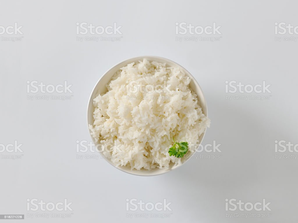 Cooked jasmine rice stock photo