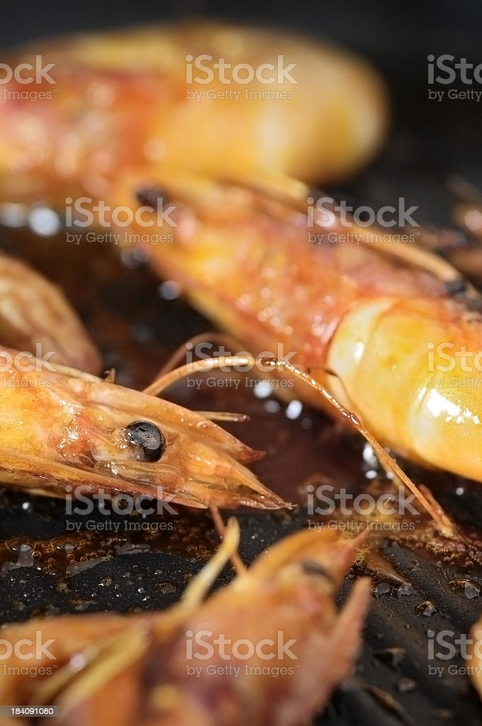 Cooked king Prawns royalty-free stock photo