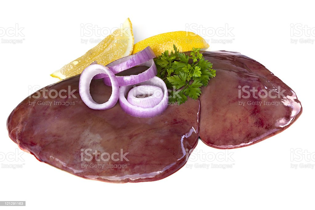 Cooked liver with onions and lemon stock photo