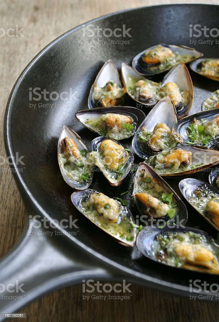 Cooked mussels in a pan royalty-free stock photo