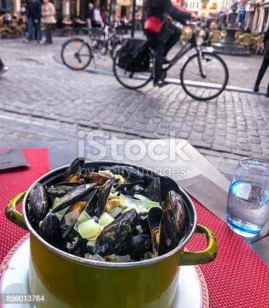 Cooked mussels in Brussels cafe, Belgium